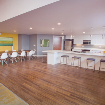 Brown Hardwood Flooring in Kitchen